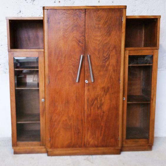 Grande armoire d'époque art déco en noyer / fibresendeco - vannerie artisanale & mobilier vintage