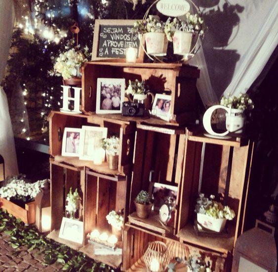 Decoração de casamento rústico com caixotes de feira  wedding