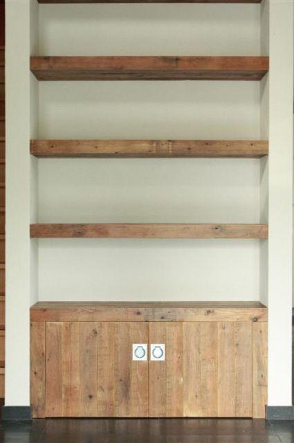 Idee voor inbouwkast inbouwkasten pinterest eettafel kast en tv - Hoofdbord wit hout ...