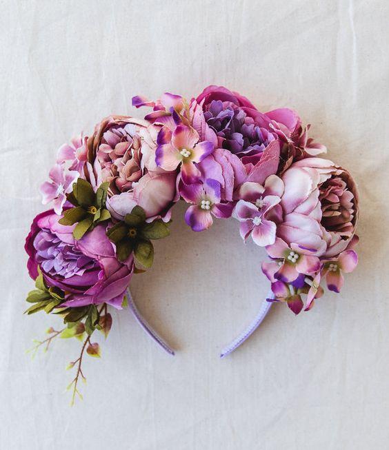 purple spring racing flower crown fascinator // statement floral headpiece headband, races melbourne cup, carnival, wedding, flowers
