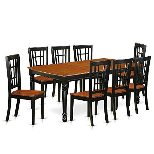 East West Furniture Doni9 Bch W Dining Set Large Black Cherry Dining Table Solid Wood Dining Set Furniture Dining Table