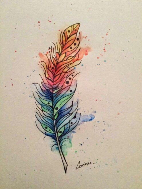 Aquarell Und Fineliner Zeichnung Feder Bemalte Federn Zeichnungen