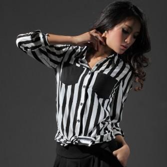 Womens Fashion Stripe Chiffon Blouse Lapel Long Sleeve Plus Size Blouses Casual Loose Pocket Shirt Top X11
