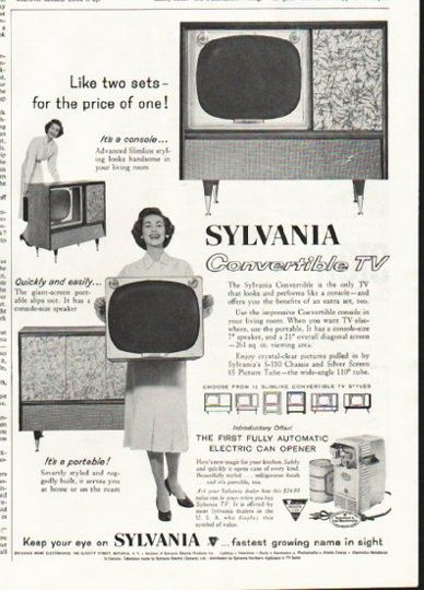 "1958 SYLVANIA TV vintage magazine advertisement ""Like two sets"" ~ Like two sets -- for the price of one! It's a console ... Advanced Slimline styling looks handsome in your living room ... Sylvania Convertible TV ~"