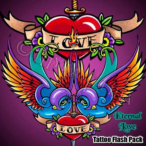 Eternal Love Rainbow Swallow Tattoo Flash Pack by MykaJelina