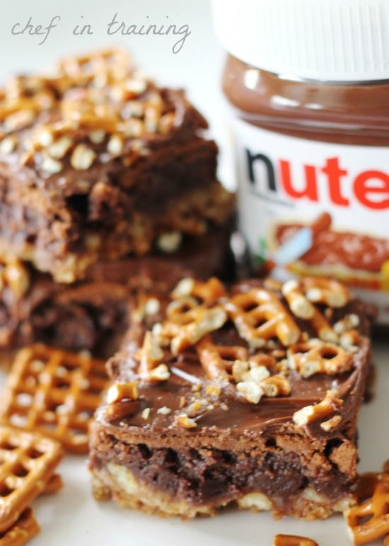 Nutella Pretzel Brownies! A great holiday treat! Add some holiday candy like m & m's on top!