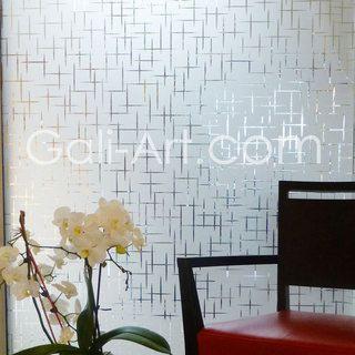 un film occultant pour vitre au d cor de petites croix pour dissimuler un vis vis moderne et. Black Bedroom Furniture Sets. Home Design Ideas