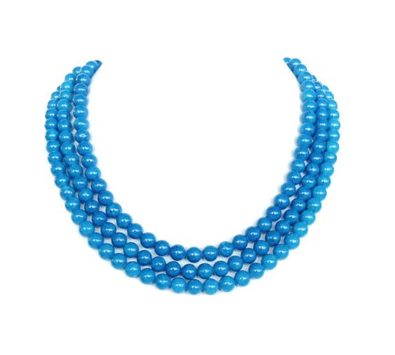 Graduated Blue Riverstone Necklace  Capri Blue Mariner Blue Winter Wedding Jewelry Blue Bridesmaid Jewelry by WildflowersAndGrace, $26.00