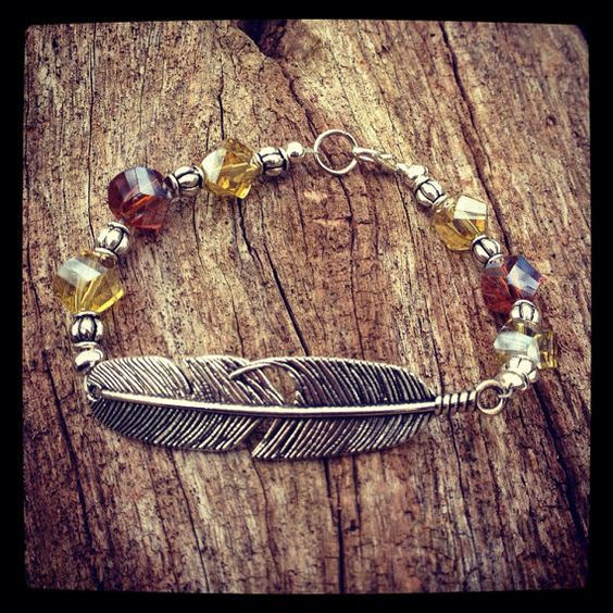 Pewter Feather Amber and Gold Crystal Beaded Bracelet  on Etsy, $19.99