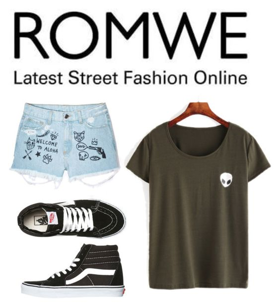 """""""Romwe"""" by disneygal3 ❤ liked on Polyvore featuring Aloha From Deer and Vans"""
