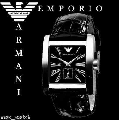 EMPORIO ARMANI Herren Uhr AR0180 Herrenuhr Schwarz Leder ORIGINAL NEU
