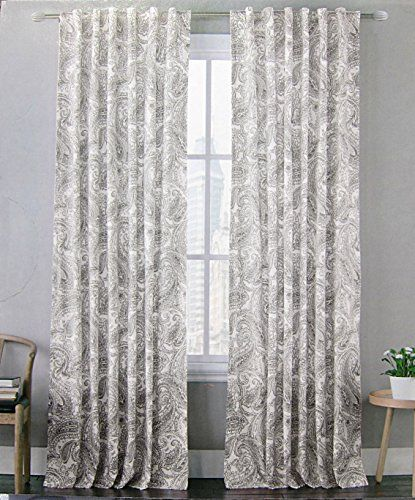 Envogue Noreen Paisley Medallion Pair of Curtains in Grey White ...