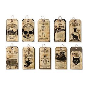 Halloween Cabinet of Curiosities Paper Tags