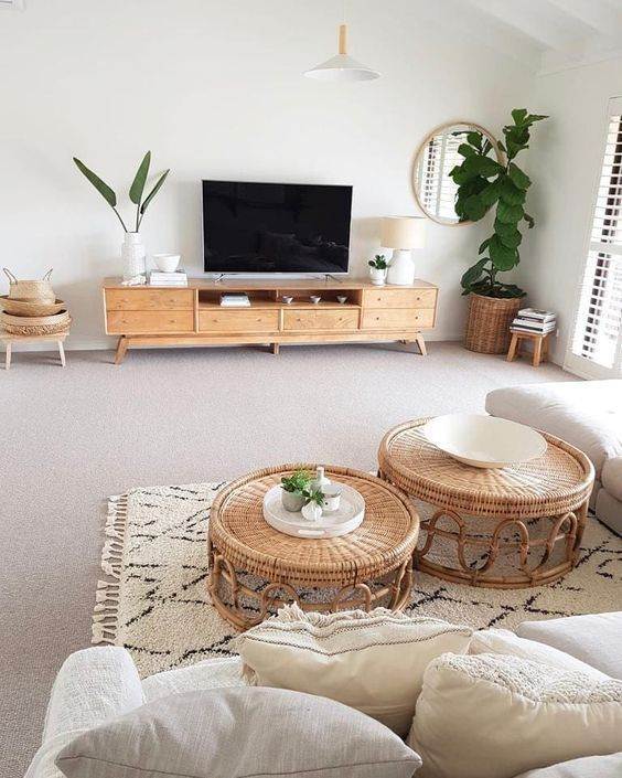 Boho Living Room Layered Rugs Round Coffee Table