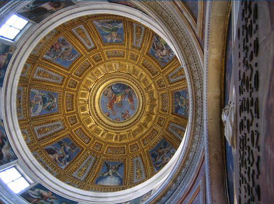 """Raphaël Santi (Sanzio)(1483-1520) """"La création du monde"""". la coupole de l'église Santa Maria del Popolo 1516"""