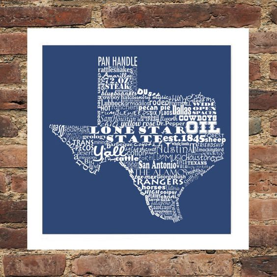 Texas State Word Art Typography Print The Lone Star State. $11.00, via Etsy.