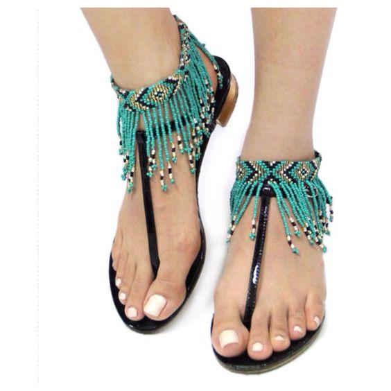 Must Have Seed Bead Fringe Aztec Anklet Set