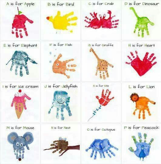 handprint alphabet art http://mommyminutesblog.blogspot.co.uk/2012/10/alphabet-handprint-art.html?m=1
