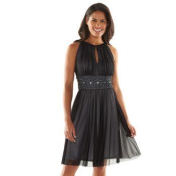 Jessica Howard Beaded Fit &amp- Flare Halter Dress - Women&-39-s- Size ...