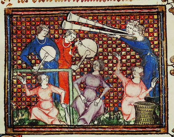 "Musicians, from Chretien Legouais,""Ovide Moralise"". Ms.1044.folio 103 verso. French,14th"