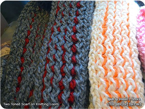 Knitted Scarf Patterns With Two Colors : Two-Toned Loom Knitted Scarf Into The Ether.net Free ...