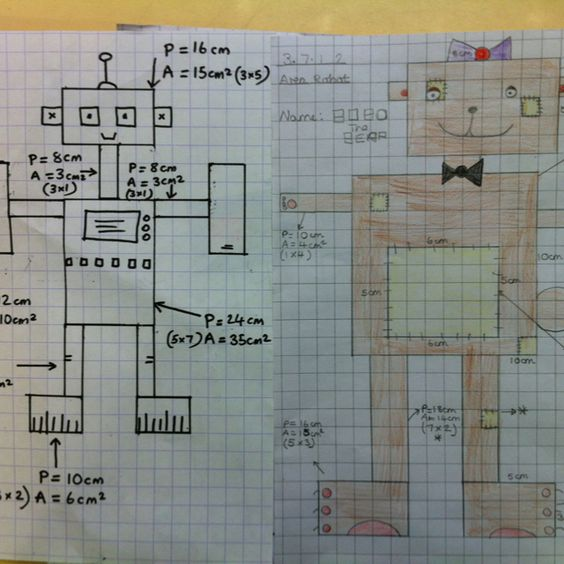 Area/Perimeter robots - get the children to draw robots and write the area and perimeter of each section (Sally Maddison)