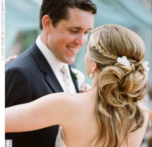 Peinado de boda semi recogido con trenza