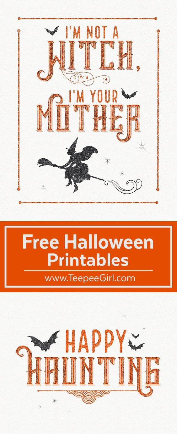These free Halloween printables are the perfect way to decorate your space for Halloween! They come in two sizes (8x10 & 5x7) and are beautiful in a frame or just hanging up on the fridge. www.TeepeeGirl.com