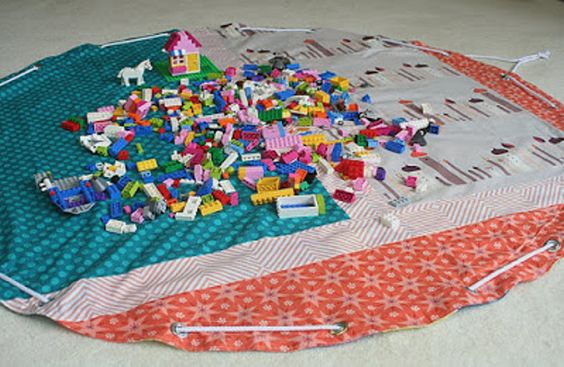 Lego playmat storage open via freshly pieced