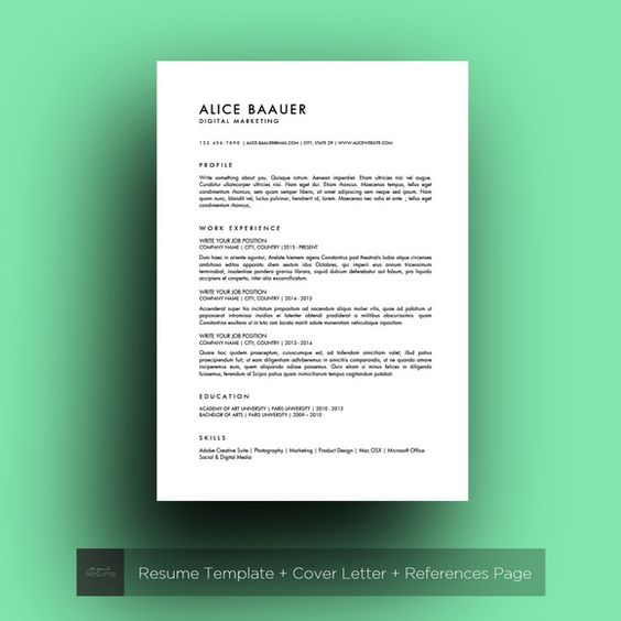 Minimalist Resume (MS Word) Alice - resume ms word template