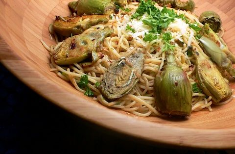 baby artichokes with pasta