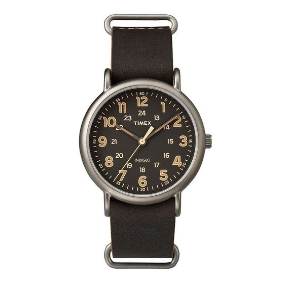 Timex Men's Weekender Leather Watch - TW2P85800JT, Size: Large, Brown