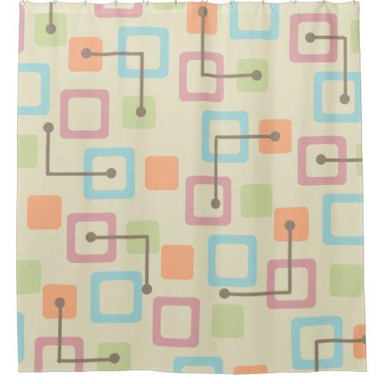 Vintage 1950s Tiles Squares Pastel Shower Curtain Zazzle Com Curtains Custom Shower Curtains Shower Curtain