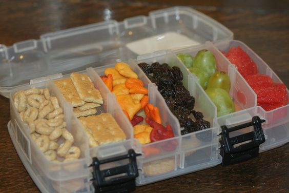 Homemade Lunchables, fishing tackle boxes (?)  via, The Chrysalis Academy
