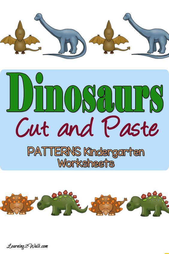 dinosaurs patterns worksheets for kindergarten cut and paste learning and hands. Black Bedroom Furniture Sets. Home Design Ideas