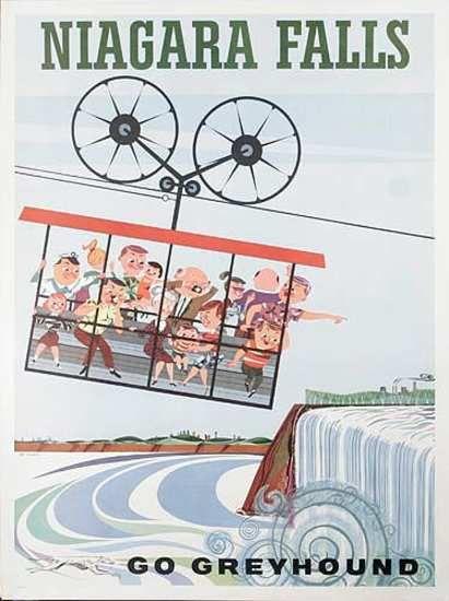 Niagara Falls * Go Greyhound by Art Grebetz (1960s)