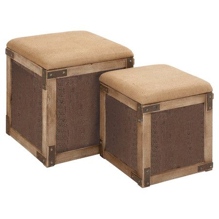 Featuring reinforced corners and burlap-inspired cushions, these charming stools bring rustic-chic style to your home.  Product: