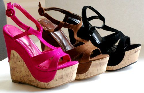 New Paxton Black Wedge Color Sandals High Heel Ankle Strap Cork Open Toe Women Shoes