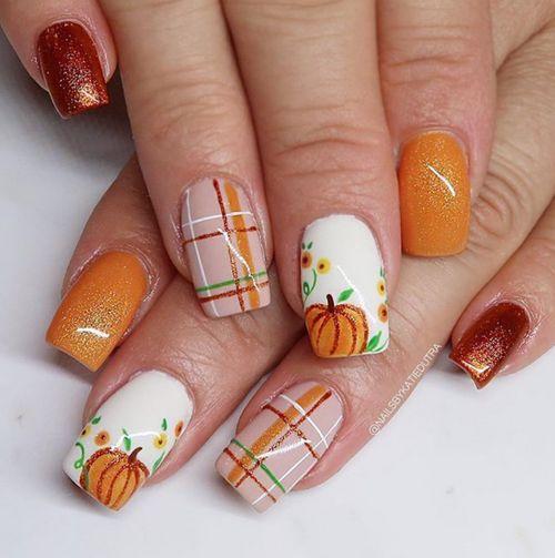 Cute Pumpkins Plaid Nail Art Design Thanksgiving Nails That Are Festive And Cute Nails Nailart In 2020 Fall Gel Nails Halloween Acrylic Nails Cute Nails For Fall
