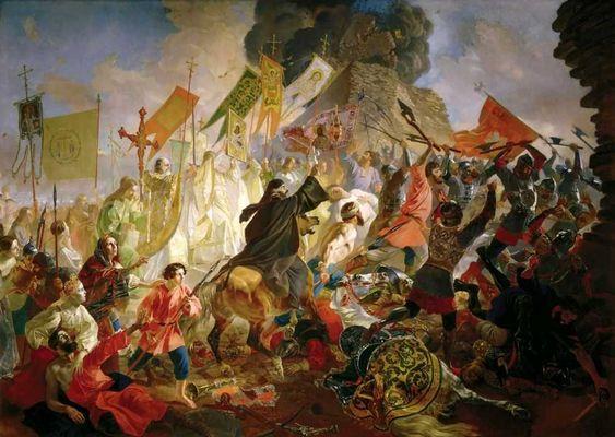 Брюллов Карл Павлович. Осада Пскова польским королем Стефаном Баторием в 1581 году: