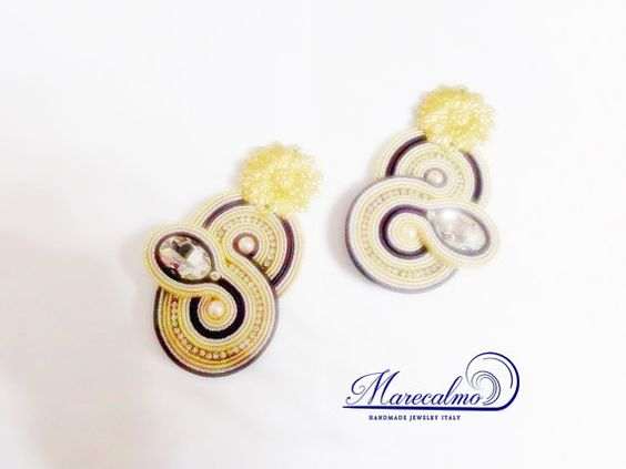 Statement earrings embroidered soutache jewelry by Marecalmojewels