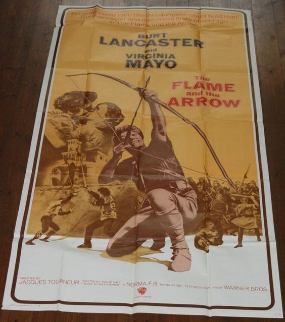 Amerikaanse bioscoopaffiche van The Flame and the Arrow met Burt Lancaster (Warner Bros. 1971) 194 x 103.5 cm