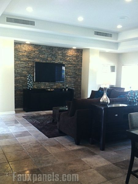 Faux stacked stone panels for feature wall living room - Faux stacked stone interior walls ...