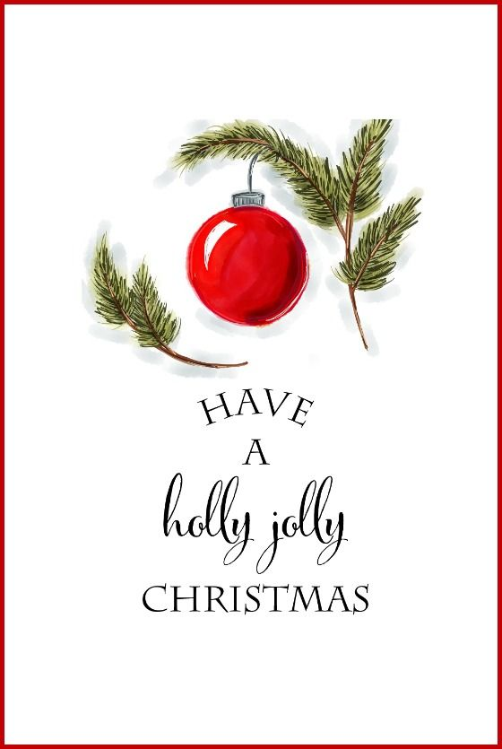 Free Christmas Printables | Have a Holly Jolly Christmas | Use for DIY Wall Art, Crafts, Cards and more!