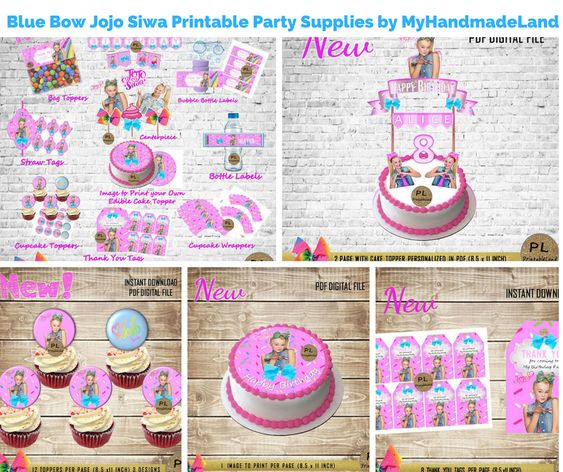 Blue Bow Jojo Siwa Printable Party Supplies by MyHandmadeLand