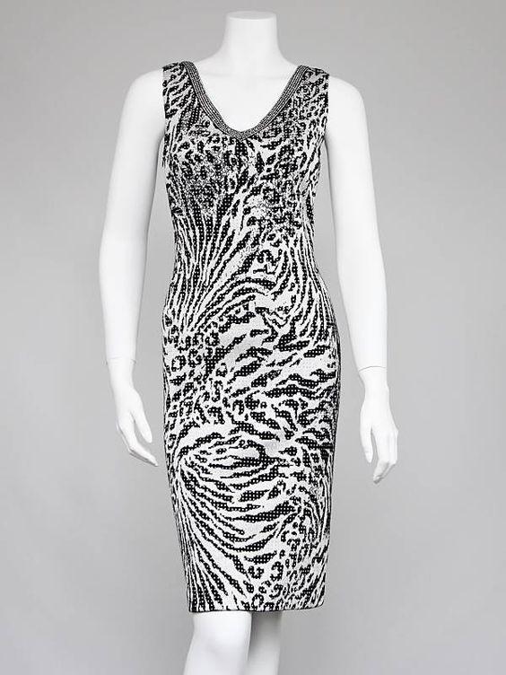 St. John Black/White Zebra Print Beaded Sleeveless Dress Size 4 - Clothing - 10022122 $275 $19 000 day
