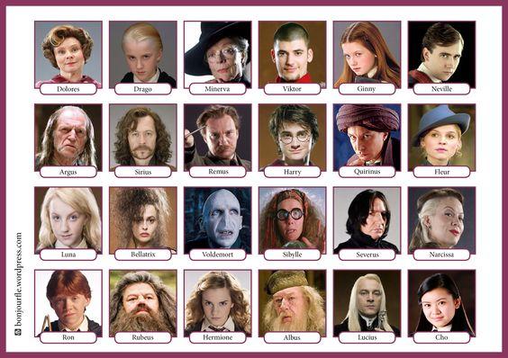 Les ados du monde entier les aiment alors les voici, les personnages de la saga Harry Potter en version Qui est-ce ? pour la classe de FLE ! PDF :bonjourfle-quiestce-harrypotter