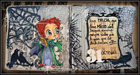 Art Journal, Sementes de Papel, Halloween, Winifred, Witch, Alicia Bel, Copic, Hocus Pocus, El Retorno de las Brujas