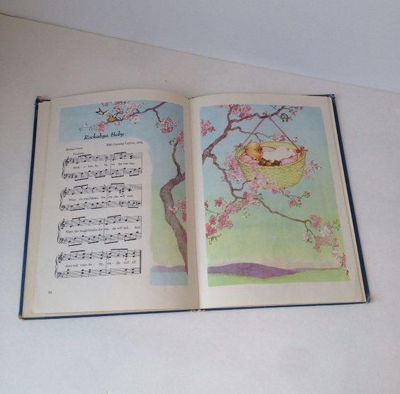 Favorite Nursery Songs Vintage Childrens Songs Book 1950s Art Music Paper Little Bo Peep Mother Goose by SissyBoomsPartyRoom on Etsy