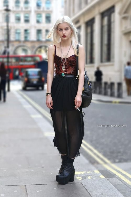 Urbanoutfitters, Jefferycampbell, black sheer skirt, chunky boots, red bustier top, dark lips, hippy goth style. Cute outfit.